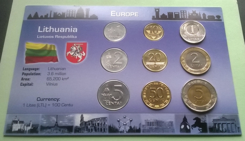 LITHUANIA COMPLETE FULL COIN SET 1+2+5+10+20+50 Centu 1+2+5 Litai UNC LOT of 9