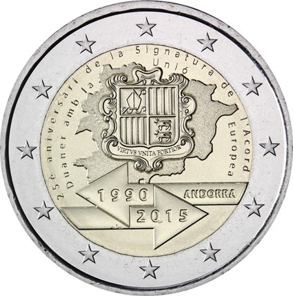 2 Euro 2015, Andorra, 25th Anniversary of the Signature of the Customs Agreement with EU