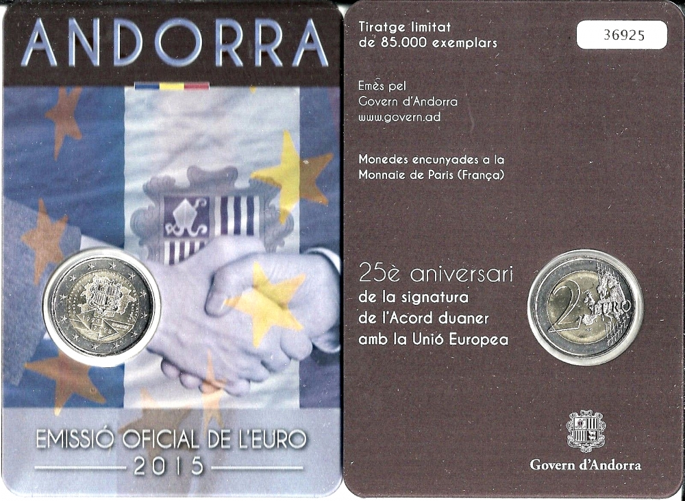 2 Euro 2015, Andorra, 25th Anniversary of the Signature of the Customs Agreement with EU, Coincard