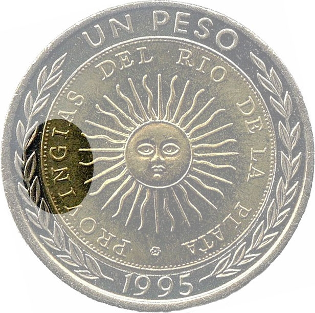 1 Peso 1994-2016, KM# 112, Argentina, Error PROVINGIAS in legend (KM# 112.3)