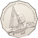 50 Cents 2008, KM# 1062, Australia, Elizabeth II, 25th Anniversary Australia's Win of the America's Cup