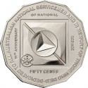 50 Cents 2011, KM# 1521, Australia, Elizabeth II, 60th Anniversary of Australia's National Service