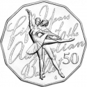 50 Cents 2012, KM# 1854, Australia, Elizabeth II, 50th Anniversary of the Australian Ballet