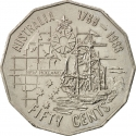50 Cents 1988, KM# 99, Australia, Elizabeth II, 200th Anniversary of the First Fleet