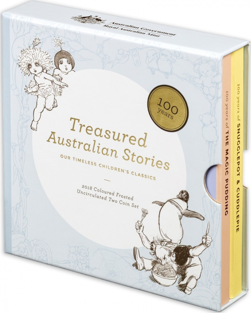 1 Dollar 2018, Australia, Elizabeth II, Treasured Australian Stories, The Tales of Snugglepot and Cuddlepie by May Gibbs, Presentation case