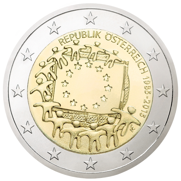 2 Euro 2015, KM# 3247, Austria, 30th Anniversary of the Flag of Europe