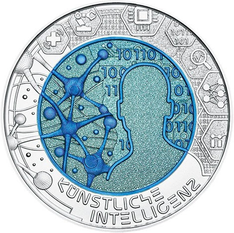 25 Euro 2019, Austria, Silver Niobium Coin, Artificial Intelligence