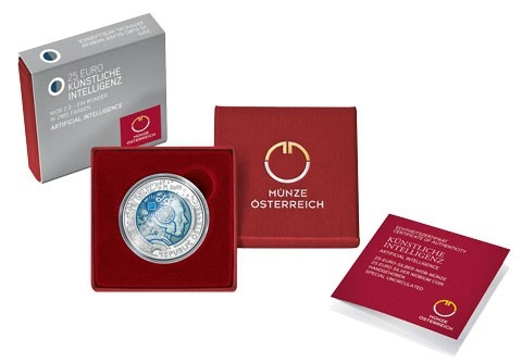 25 Euro 2019, Austria, Silver Niobium Coin, Artificial Intelligence, Box with a certificate of authenticity