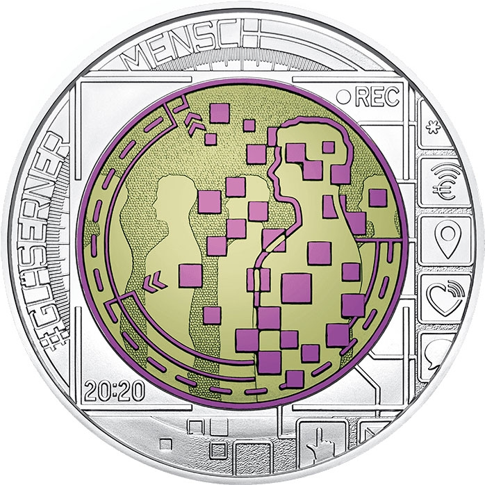 25 Euro 2020, Austria, Silver Niobium Coin, Big Data