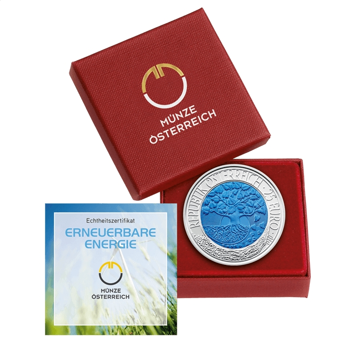 25 Euro 2010, KM# 3189, Austria, Silver Niobium Coin, Renewable Energy, Box with a certificate of authenticity