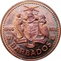 1 Cent 1976, KM# 19, Barbados, Elizabeth II, 10th Anniversary of Independence