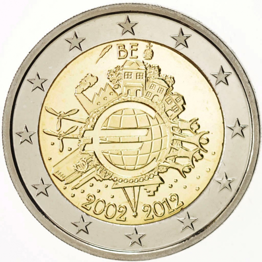2 Euro 2012, KM# 315, Belgium, 10th Anniversary of Euro Coins and Banknotes