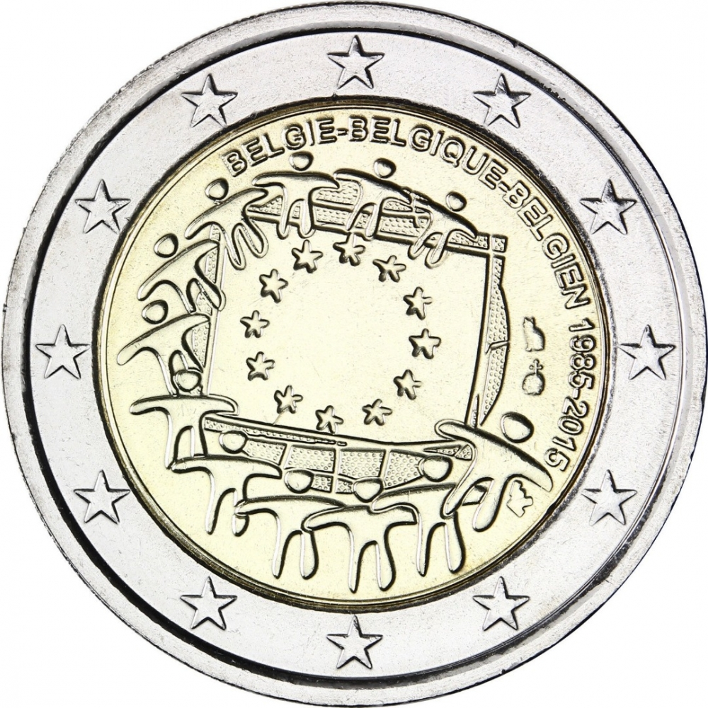 2 Euro 2015, LA# BEM-8.19, Belgium, Philippe, 30th Anniversary of the Flag of Europe