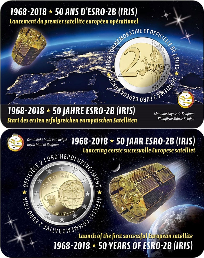 2 Euro 2018, Belgium, Philippe, 50th Anniversary of the ESRO-2B Satellite, Coincard (NL type)