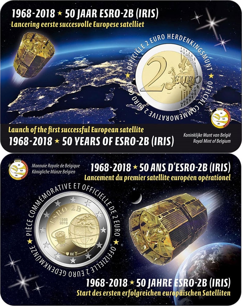 2 Euro 2018, Belgium, Philippe, 50th Anniversary of the ESRO-2B Satellite, Coincard (FR type)