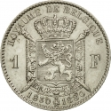 1 Franc 1880, KM# 38, Belgium, Leopold II, 50th Anniversary of Belgian Independence