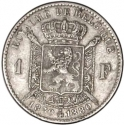 1 Franc 1880, KM# 38, Belgium, Leopold II, Fifty Years of the Belgian Kingdom, Independence