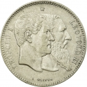 2 Francs 1880, KM# 39, Belgium, Leopold II, 50th Anniversary of Belgian Independence