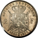 2 Francs 1880, KM# 39, Belgium, Leopold II, Fifty Years of the Belgian Kingdom, Independence