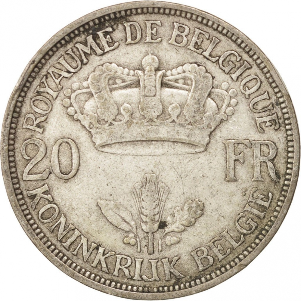 20 Francs 1934-1935, KM# 105, Belgium, Leopold III, With diamonds above and below '20' and 'FR'