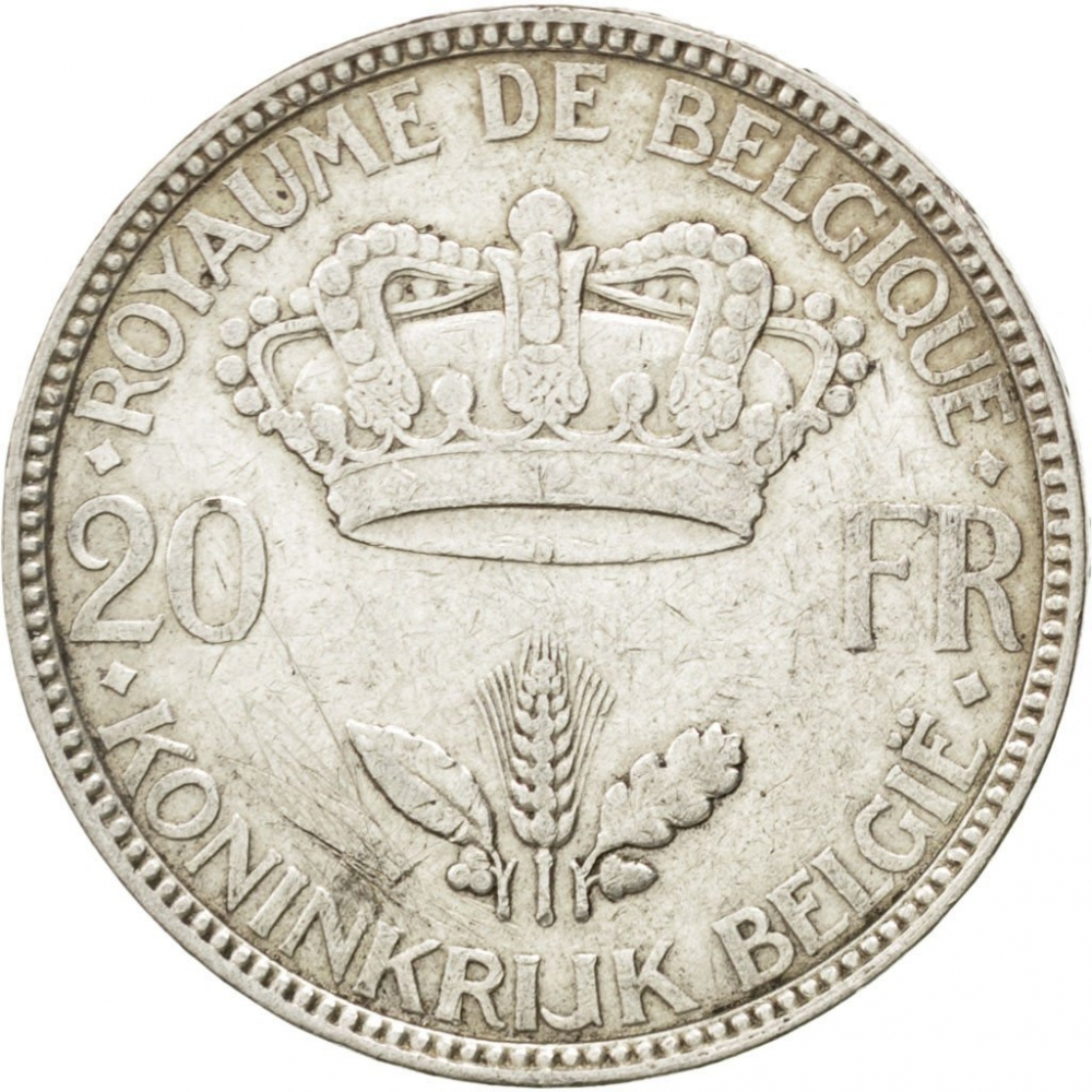 20 Francs 1934-1935, KM# 105, Belgium, Leopold III, Without diamonds above and below '20' and 'FR'