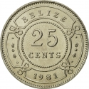 25 Cents 1974-2015, KM# 36, Belize