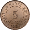 5 Cents 1903-1941, KM# 5, British North Borneo
