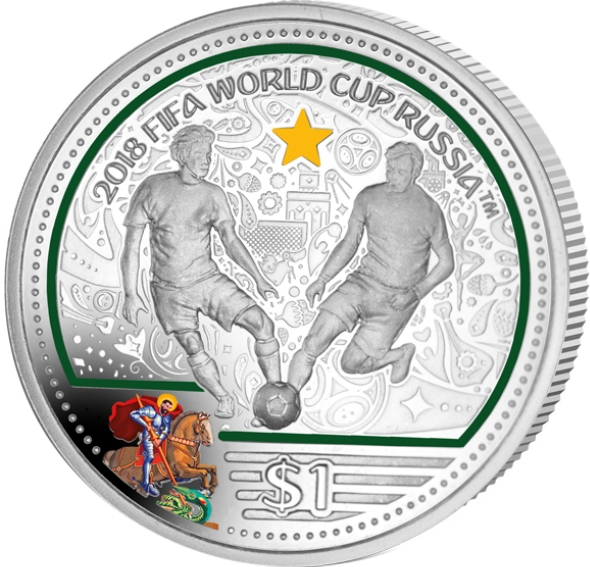 1 Dollar 2018, British Virgin Islands, Elizabeth II, 2018 Football (Soccer) World Cup in Russia