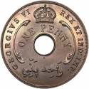 1 Penny 1937-1947, KM# 19, British West Africa, George VI