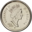 10 Cents 2002, KM# 447, Canada, Elizabeth II, 50th Anniversary of the Accession of Elizabeth II to the Throne, Golden Jubilee