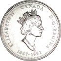 25 Cents 1992, KM# 221, Canada, Elizabeth II, 125th Anniversary of the Canadian Confederation, Alberta