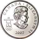 25 Cents 2007-2008, KM# 686, Canada, Elizabeth II, Vancouver 2010 Winter Olympics, Alpine Skiing