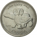 25 Cents 1999, KM# 345, Canada, Elizabeth II, Third Millennium, April, Our Northern Heritage