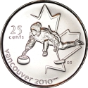 25 Cents 2007, KM# 682, Canada, Elizabeth II, Vancouver 2010 Winter Olympics, Curling