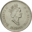 25 Cents 1999, KM# 343, Canada, Elizabeth II, Third Millennium, February, Etched in Stone