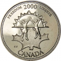 25 Cents 2000, KM# 374, Canada, Elizabeth II, Third Millennium, Freedom, Strong and Free