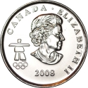 25 Cents 2008, KM# 765, Canada, Elizabeth II, Vancouver 2010 Winter Olympics, Freestyle Skiing
