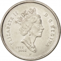 25 Cents 2002, KM# 448, Canada, Elizabeth II, 50th Anniversary of the Accession of Elizabeth II to the Throne, Golden Jubilee