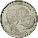 25 Cents 1999, KM# 342, Canada, Elizabeth II, Third Millennium, January, A Country Unfolds
