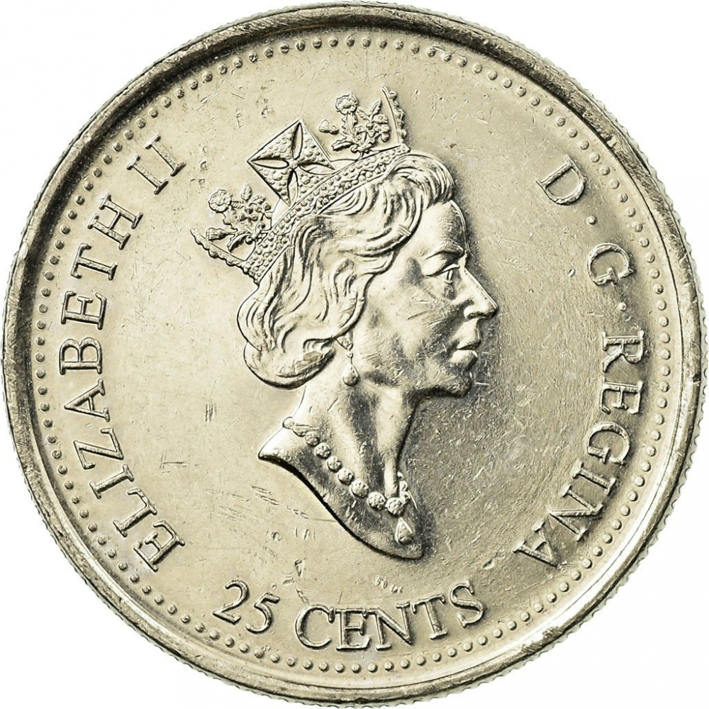 25 Cents 1999, KM# 348, Canada, Elizabeth II, Third Millennium, July, A Nation of People