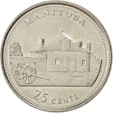 25 Cents 1992, KM# 214, Canada, Elizabeth II, 125th Anniversary of the Canadian Confederation, Manitoba
