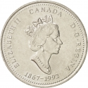 25 Cents 1992, KM# 203, Canada, Elizabeth II, 125th Anniversary of the Canadian Confederation, New Brunswick
