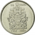 50 Cents 2002, KM# 444, Canada, Elizabeth II, 50th Anniversary of the Accession of Elizabeth II to the Throne, Golden Jubilee