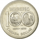 1 Dollar 1974, KM# 88, Canada, Elizabeth II, 100th Anniversary of Winnipeg