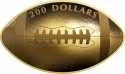 200 Dollars 2017, Canada, Elizabeth II, Football-Shaped and Curved Coin