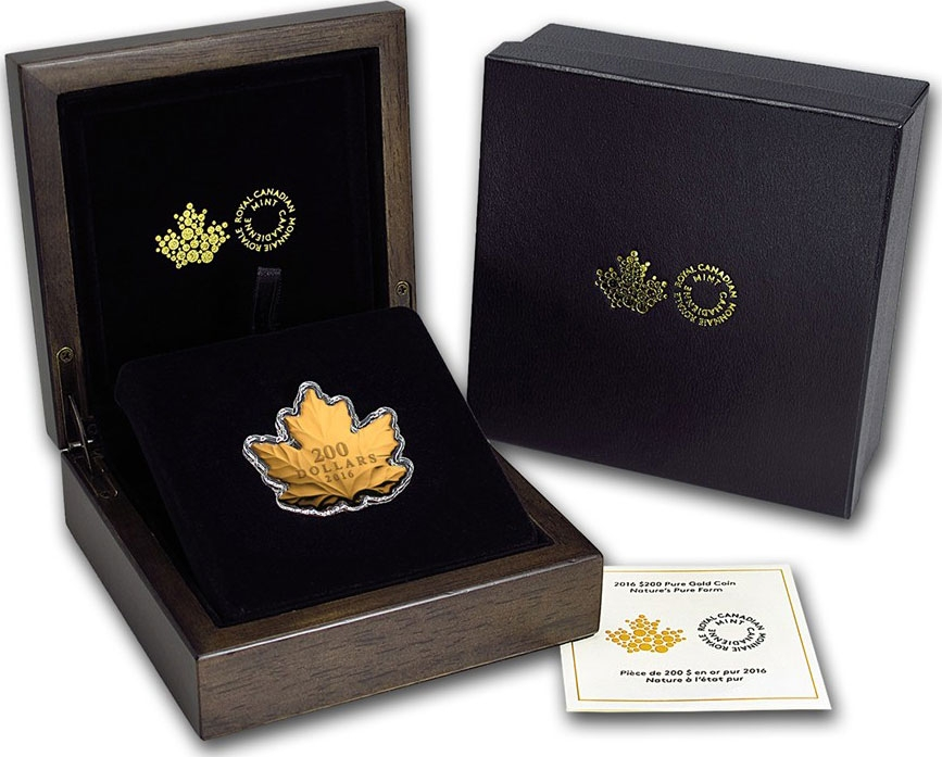 200 Dollars 2016, Canada, Elizabeth II, Maple Leaf Silhouette, Golden Maple Leaf, Box with the certificate