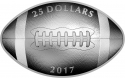 25 Dollars 2017, Canada, Elizabeth II, Football-Shaped and Curved Coin