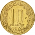 10 Francs 1974-2003, KM# 9, Central African States