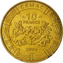 10 Francs 2006, KM# 19, Central African States