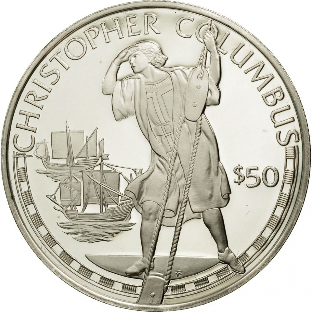 50 Dollars 1988, KM# 67, Cook Islands, Great Explorers, Christopher Columbus